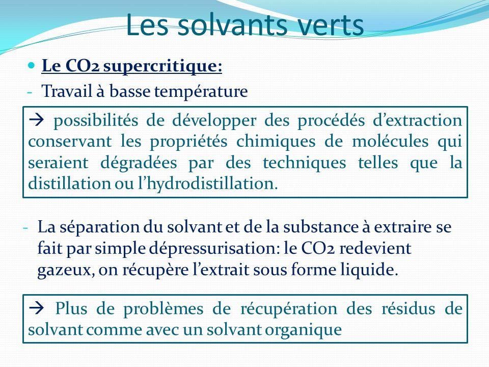 Les solvants verts Le CO2 supercritique: Travail à basse température