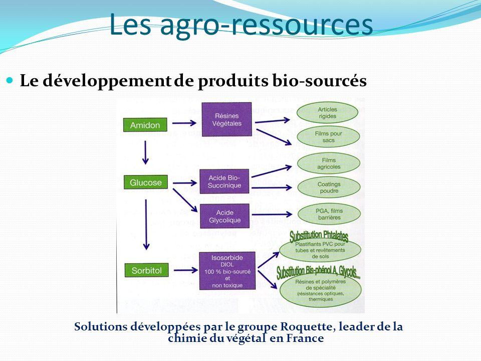 Les agro-ressources Le développement de produits bio-sourcés