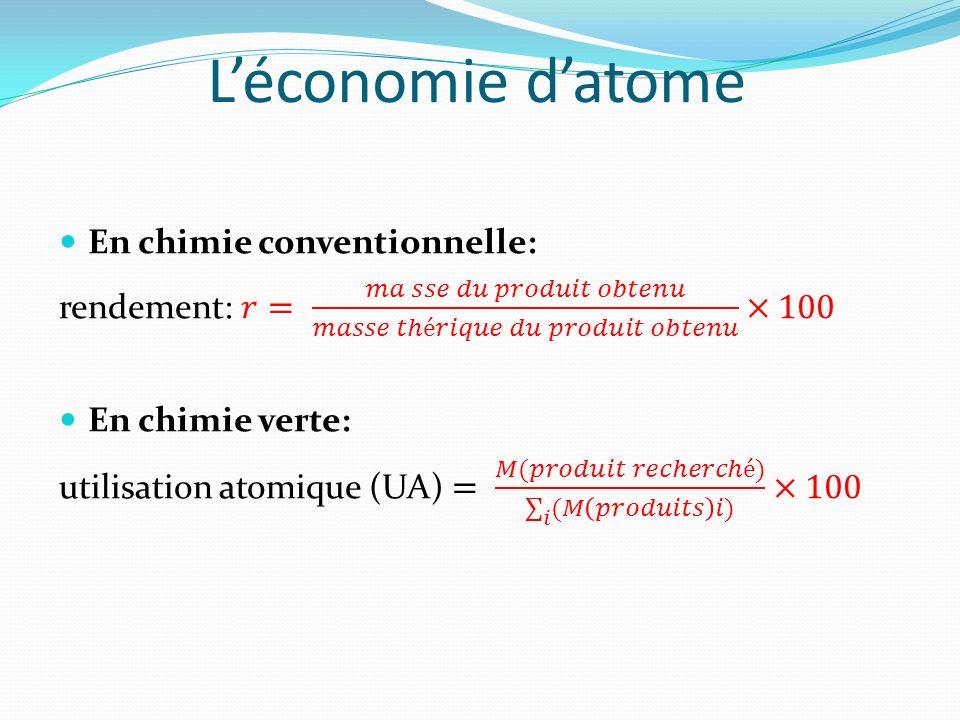 L'économie d'atome En chimie conventionnelle:
