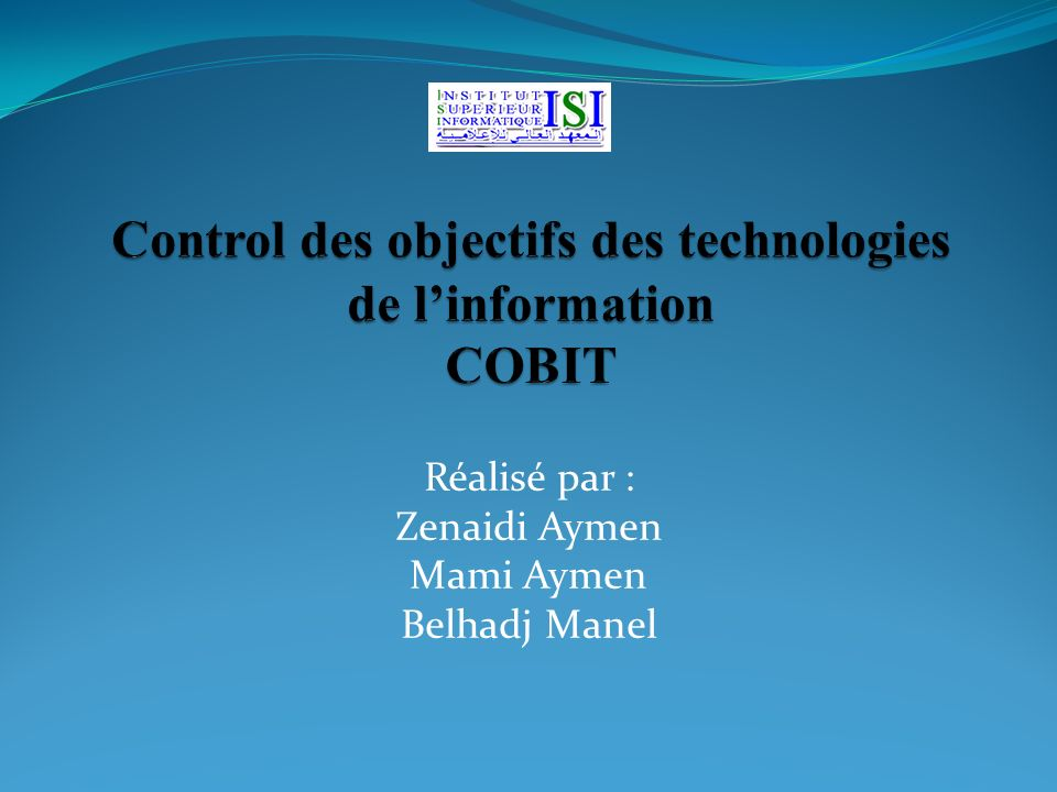 Control des objectifs des technologies de l'information COBIT