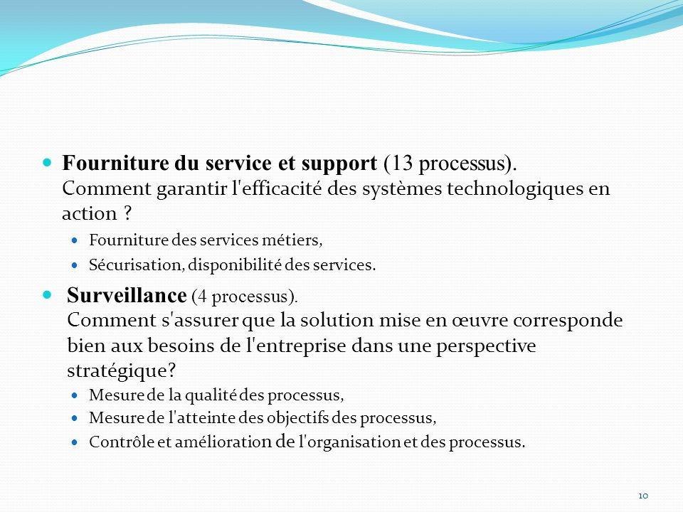 Fourniture du service et support (13 processus)