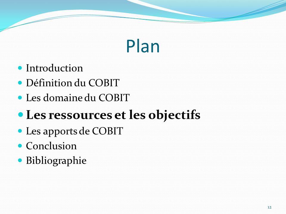 Plan Les ressources et les objectifs Introduction Définition du COBIT