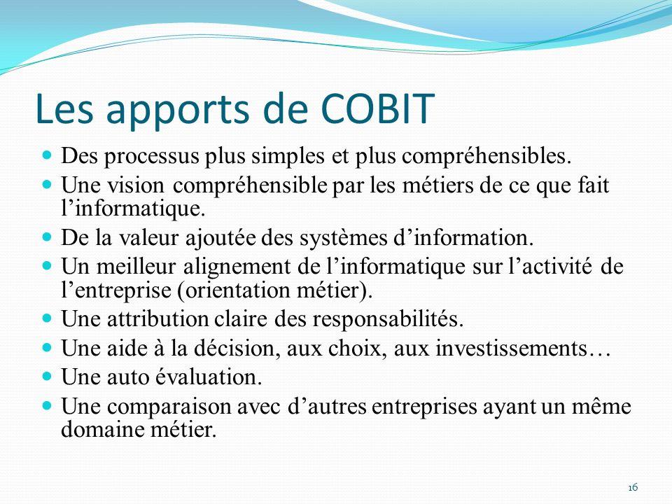 Les apports de COBIT Des processus plus simples et plus compréhensibles. Une vision compréhensible par les métiers de ce que fait l'informatique.