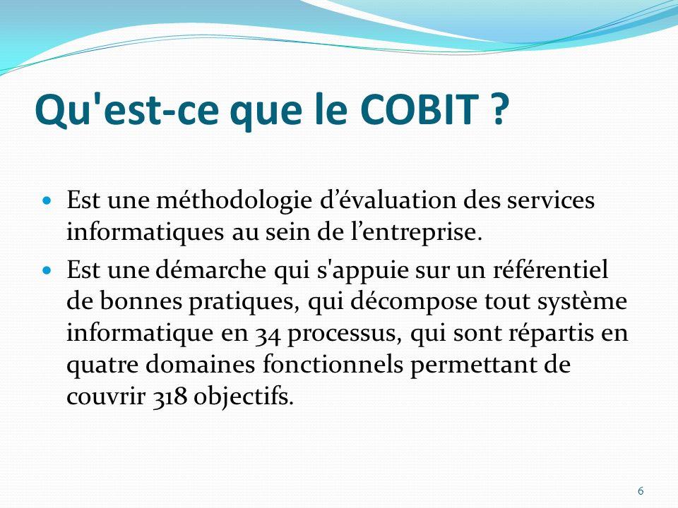 Qu est-ce que le COBIT Est une méthodologie d'évaluation des services informatiques au sein de l'entreprise.