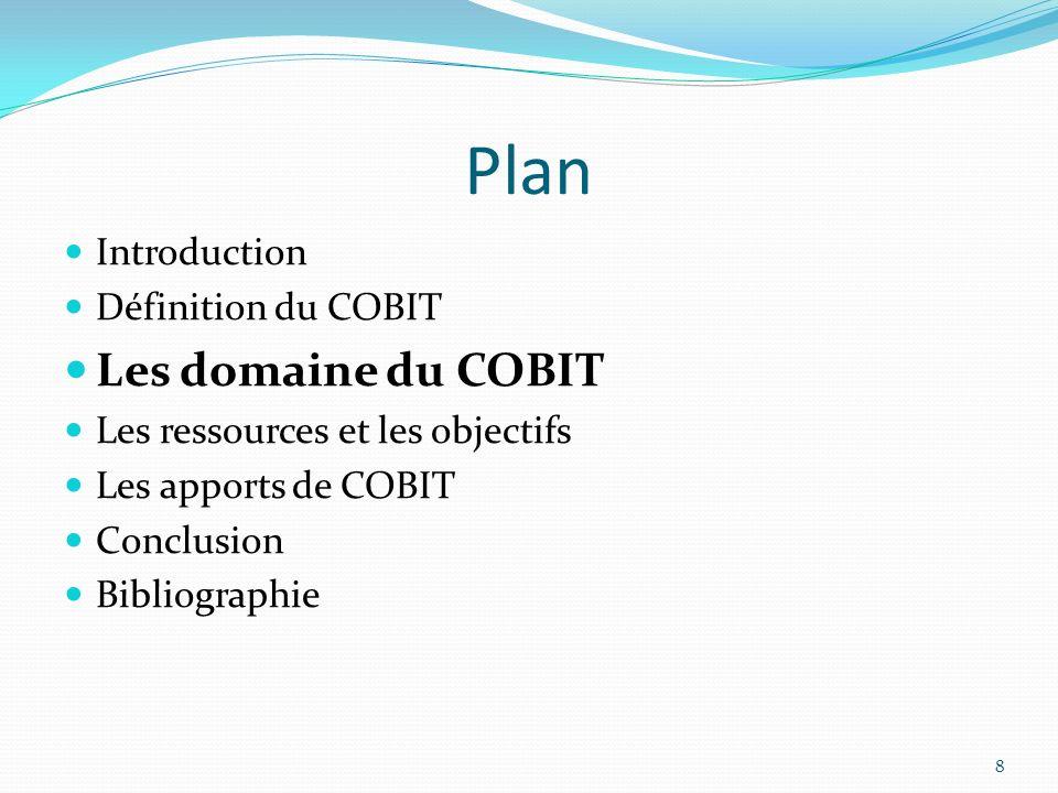Plan Les domaine du COBIT Introduction Définition du COBIT