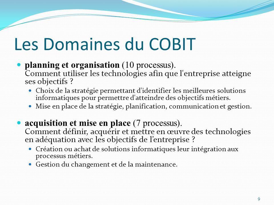 Les Domaines du COBIT planning et organisation (10 processus). Comment utiliser les technologies afin que l entreprise atteigne ses objectifs