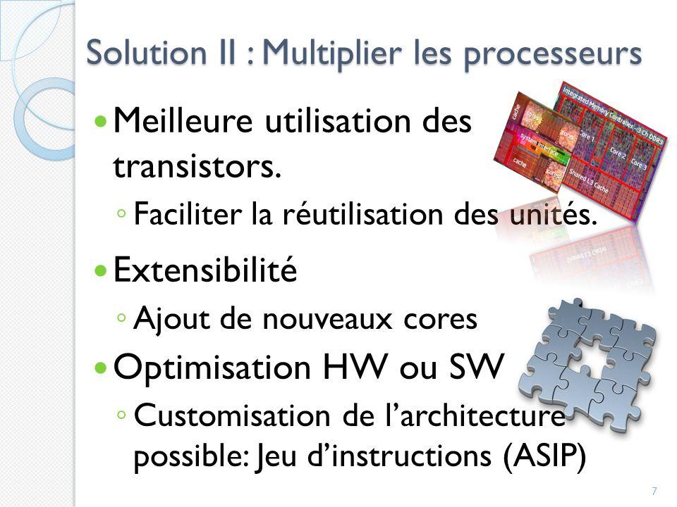 Solution II : Multiplier les processeurs