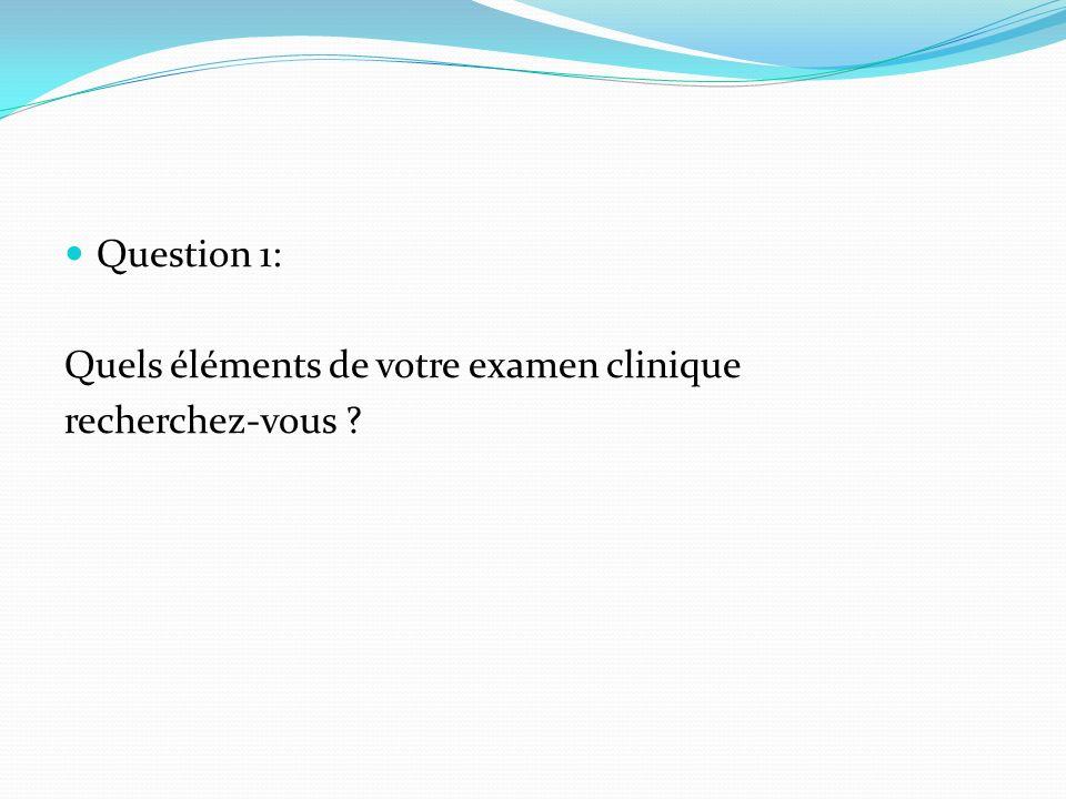 Question 1: Quels éléments de votre examen clinique recherchez-vous
