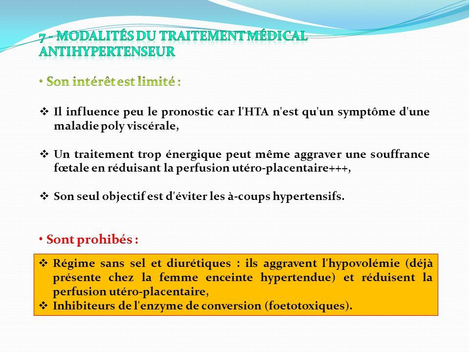 7 - Modalités du traitement médical antihypertenseur