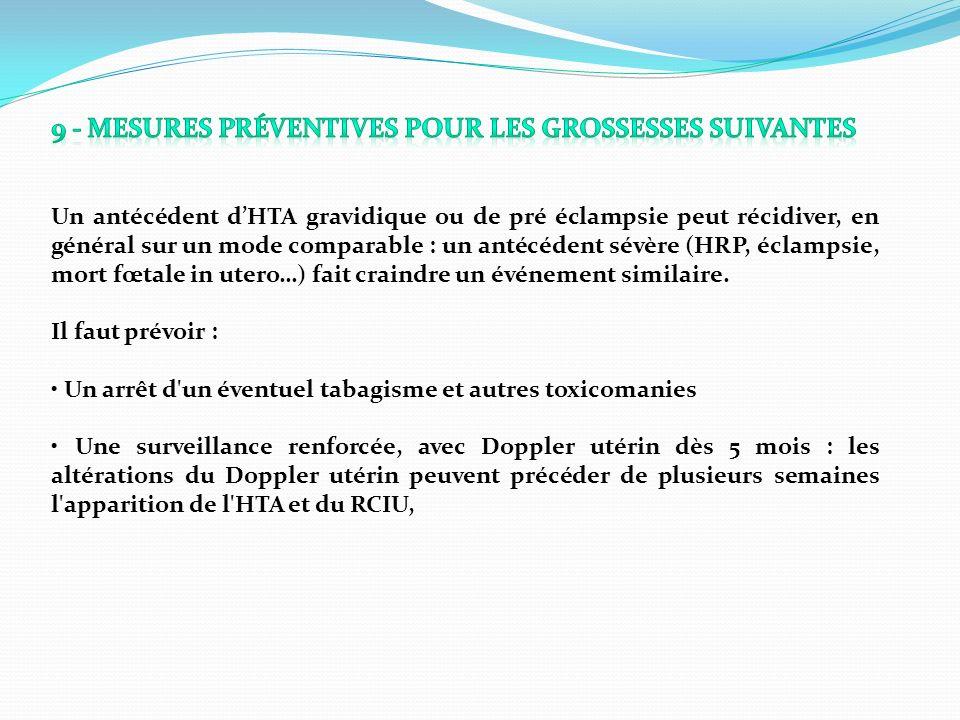 9 - Mesures préventives pour les grossesses suivantes