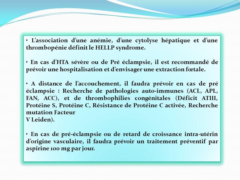 • L'association d'une anémie, d'une cytolyse hépatique et d'une thrombopénie définit le HELLP syndrome.