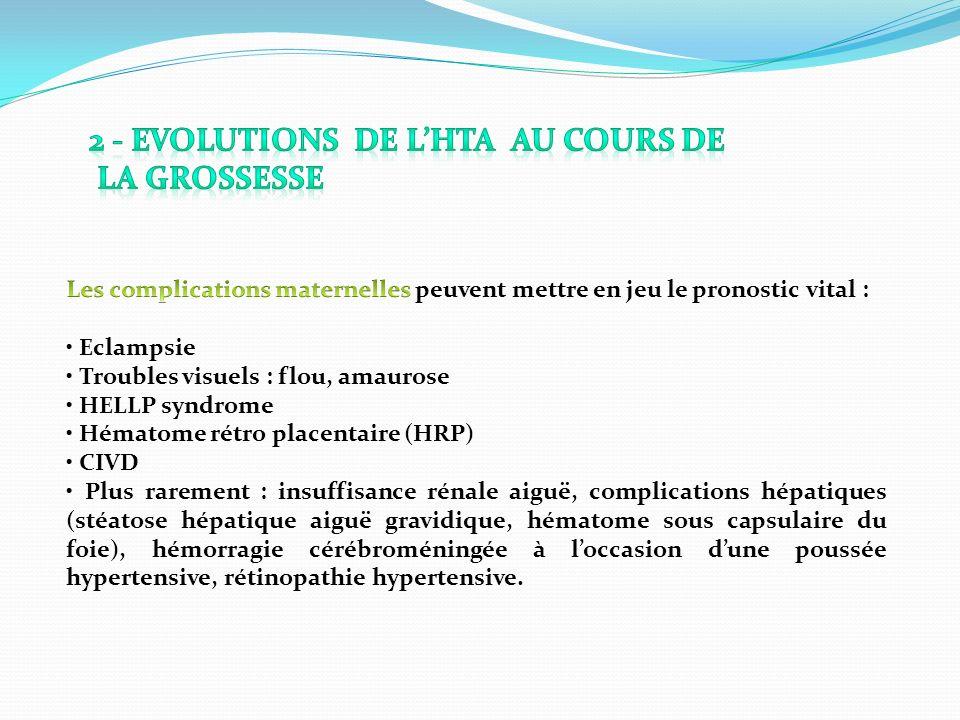 2 - Evolutions de l'HTA au cours de la grossesse