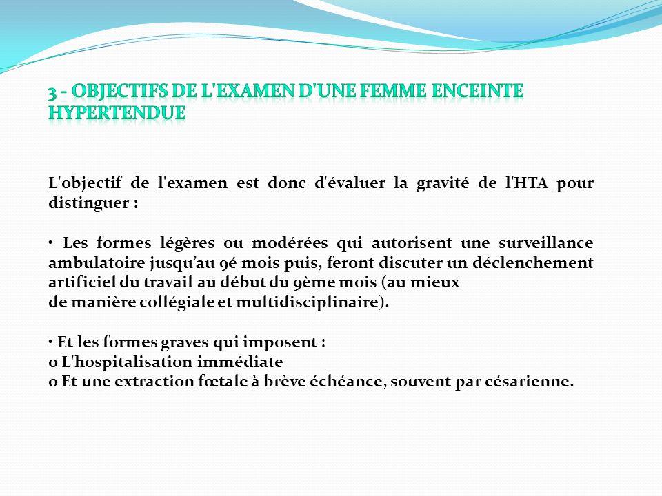 3 - Objectifs de l examen d une femme enceinte hypertendue