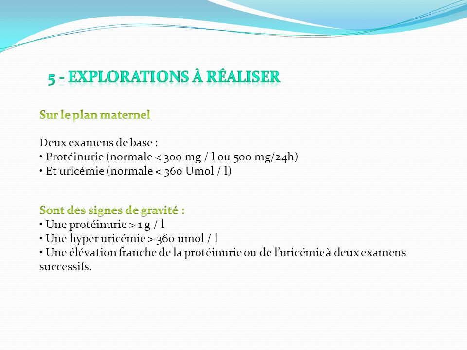 5 - Explorations à réaliser