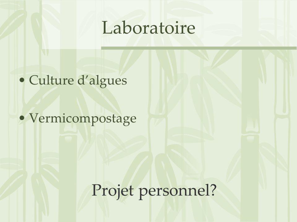 Laboratoire Culture d'algues Vermicompostage Projet personnel