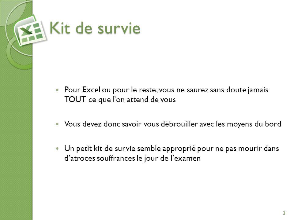 Kit de survie Pour Excel ou pour le reste, vous ne saurez sans doute jamais TOUT ce que l'on attend de vous.