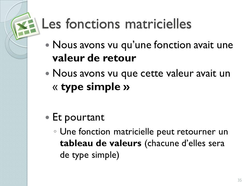 Les fonctions matricielles