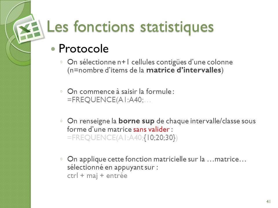 Les fonctions statistiques