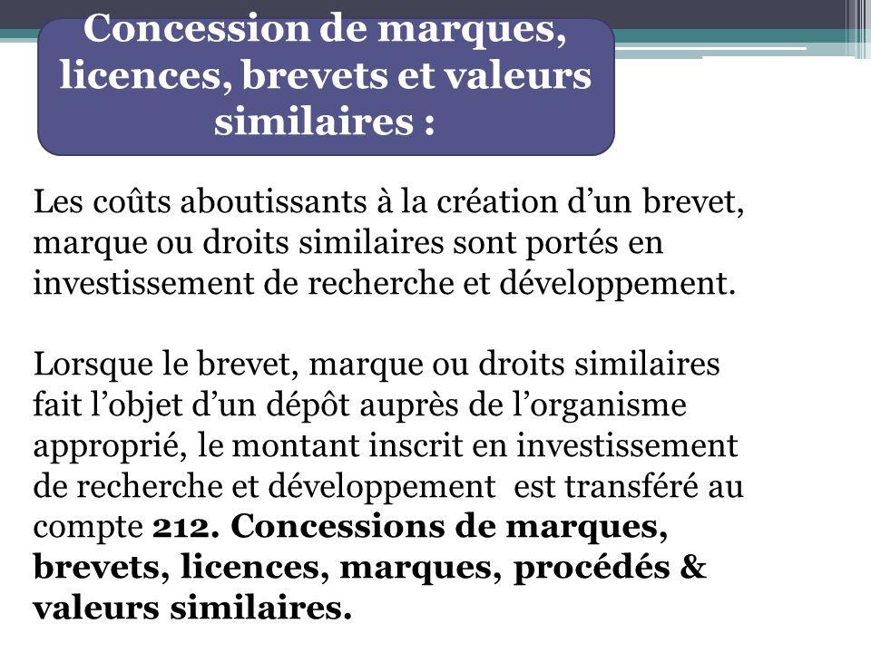 Concession de marques, licences, brevets et valeurs similaires :