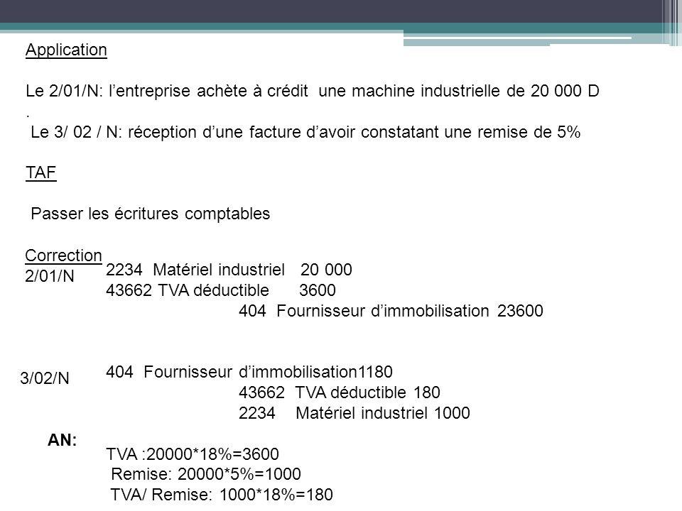 Application Le 2/01/N: l'entreprise achète à crédit une machine industrielle de 20 000 D .