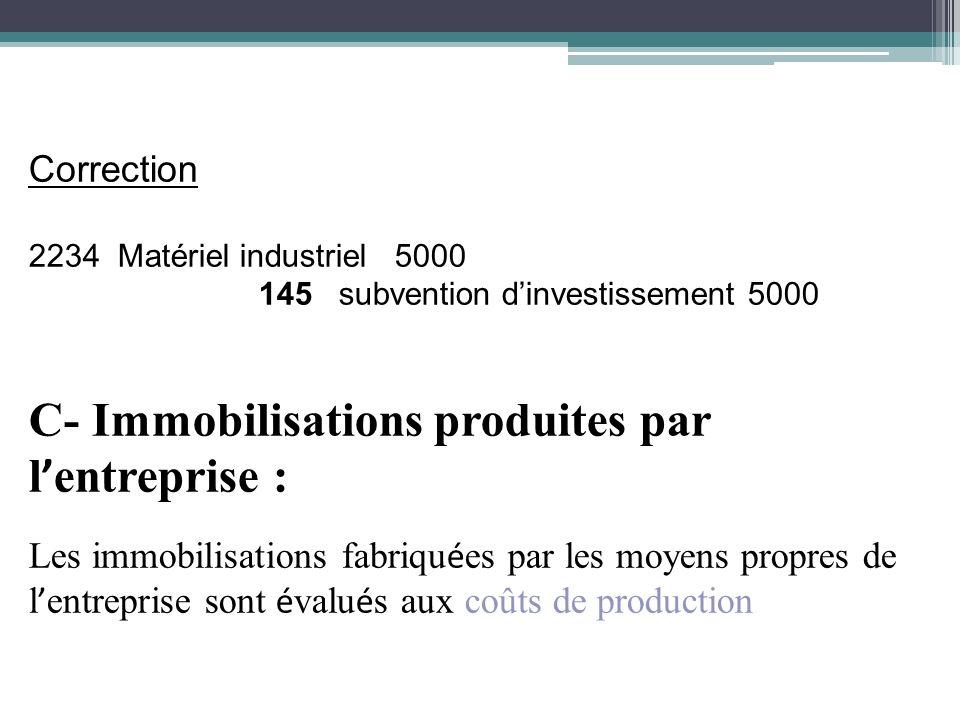 C- Immobilisations produites par l'entreprise :