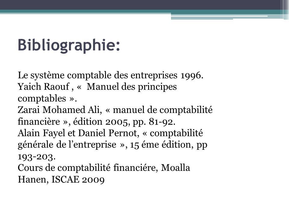 Bibliographie: Le système comptable des entreprises 1996.