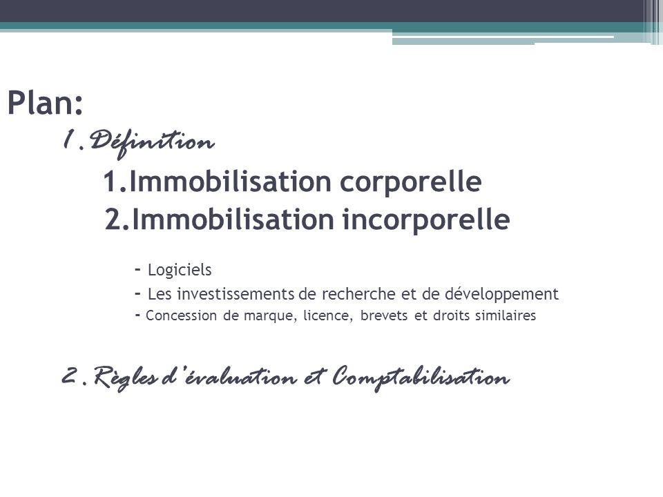 Plan: 1. Définition 1. Immobilisation corporelle 2