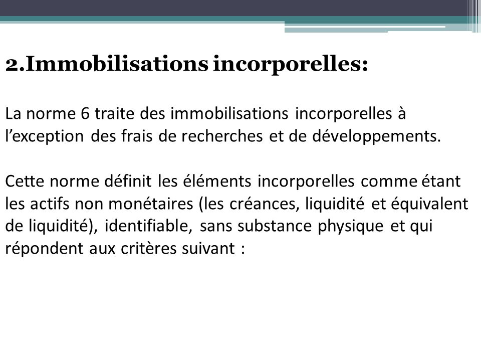 2.Immobilisations incorporelles:
