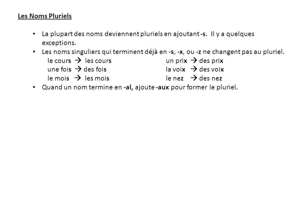 Les Noms Pluriels La plupart des noms deviennent pluriels en ajoutant -s. Il y a quelques exceptions.
