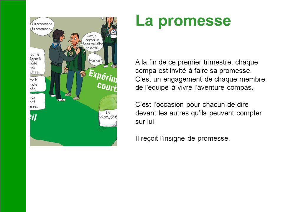 La promesse A la fin de ce premier trimestre, chaque compa est invité à faire sa promesse.