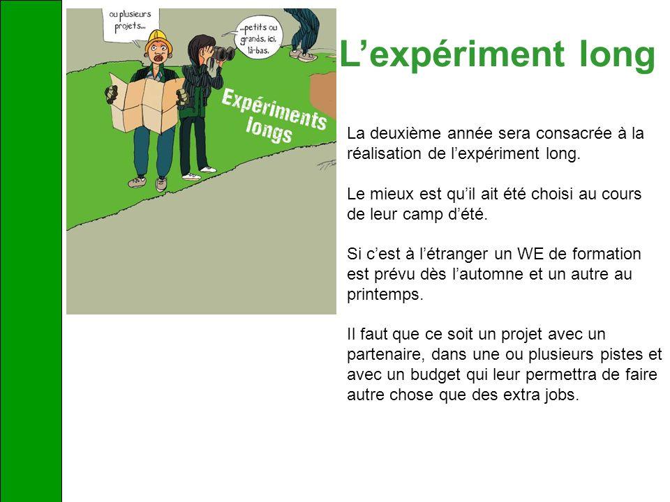 L'expériment long La deuxième année sera consacrée à la réalisation de l'expériment long.