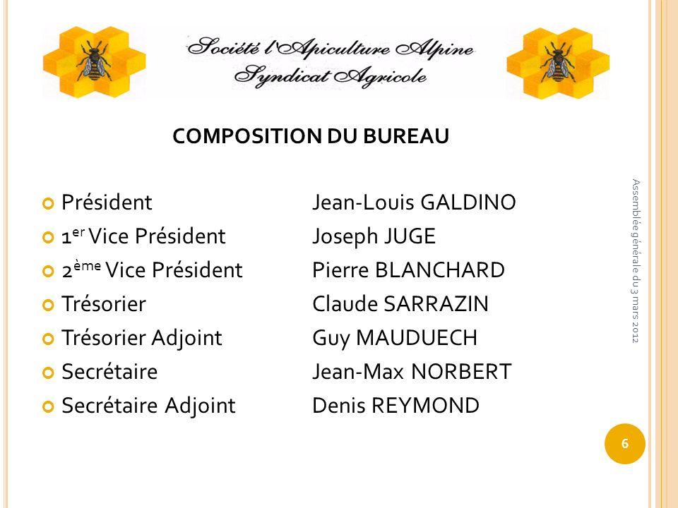 Président Jean-Louis GALDINO 1er Vice Président Joseph JUGE