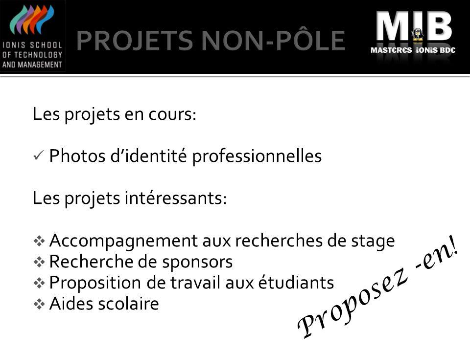 PROJETS NON-PÔLE Proposez -en! Les projets en cours: