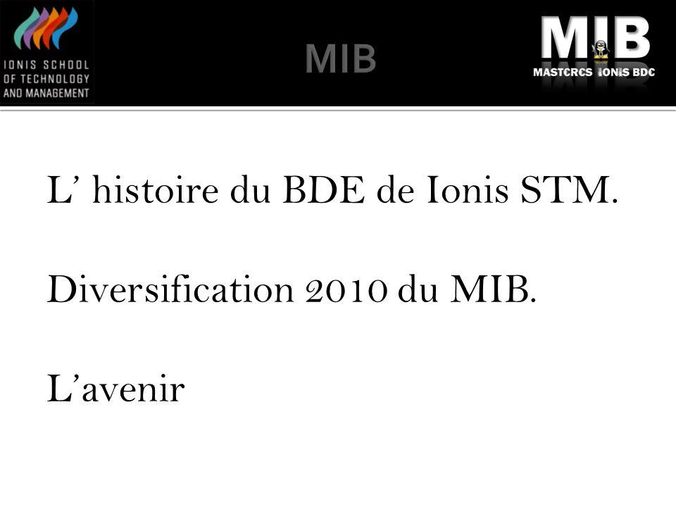 MIB L' histoire du BDE de Ionis STM. Diversification 2010 du MIB. L'avenir