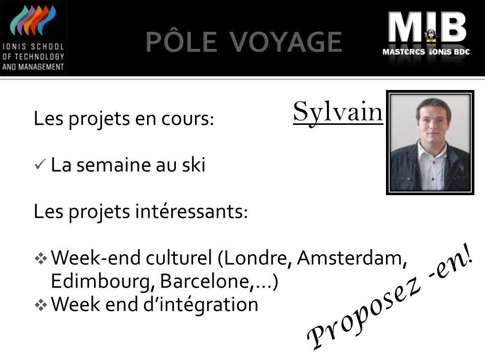PÔLE VOYAGE Sylvain Proposez -en! Les projets en cours: