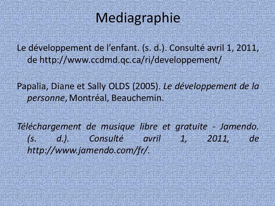 Mediagraphie Le développement de l'enfant. (s. d.). Consulté avril 1, 2011, de http://www.ccdmd.qc.ca/ri/developpement/
