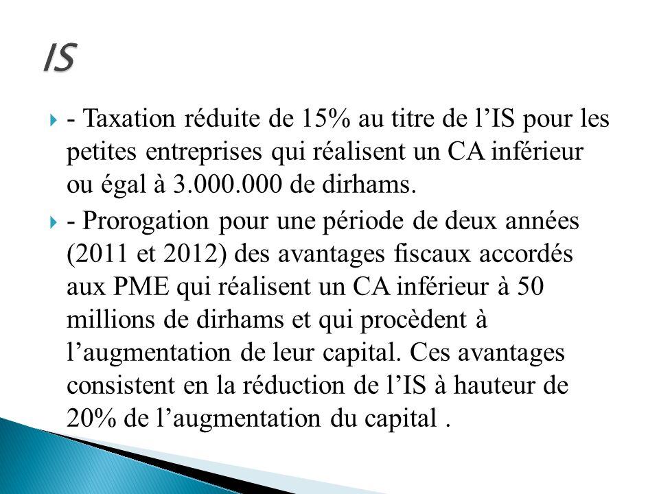 IS - Taxation réduite de 15% au titre de l'IS pour les petites entreprises qui réalisent un CA inférieur ou égal à 3.000.000 de dirhams.