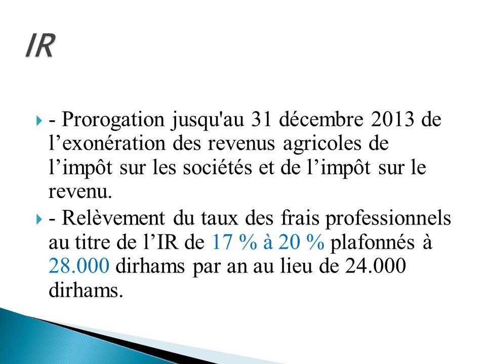 IR - Prorogation jusqu au 31 décembre 2013 de l'exonération des revenus agricoles de l'impôt sur les sociétés et de l'impôt sur le revenu.