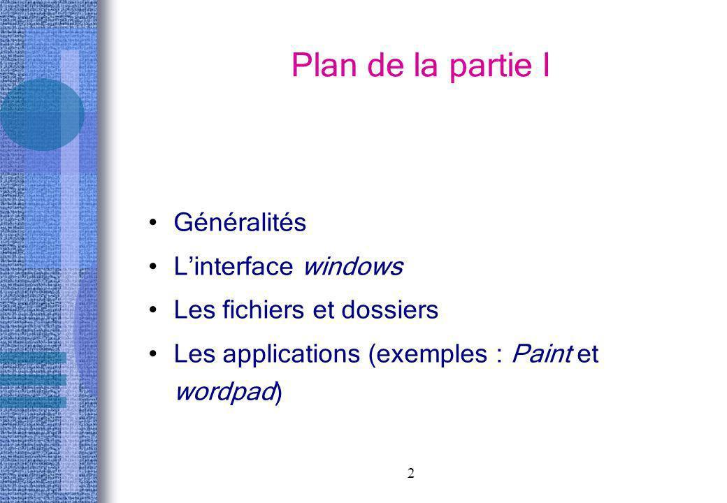 Plan de la partie I Généralités L'interface windows