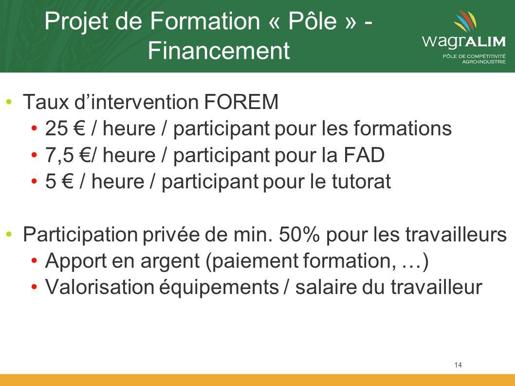 Projet de Formation « Pôle » - Financement