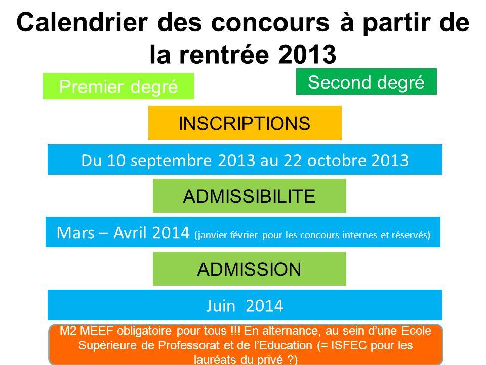 Calendrier des concours à partir de la rentrée 2013