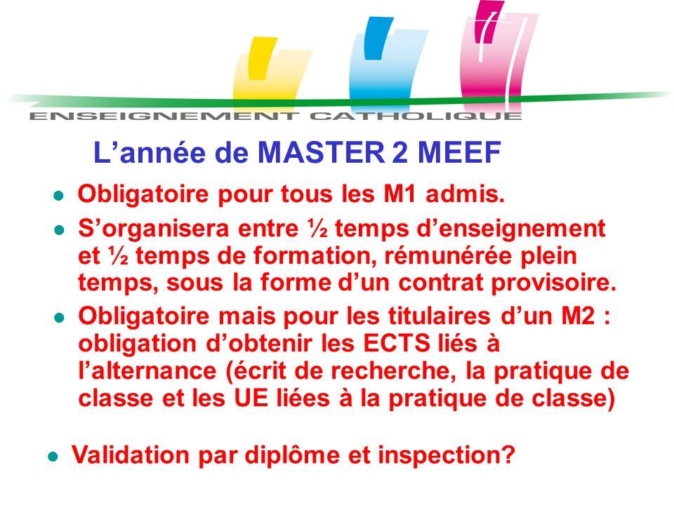 L'année de MASTER 2 MEEF Obligatoire pour tous les M1 admis.