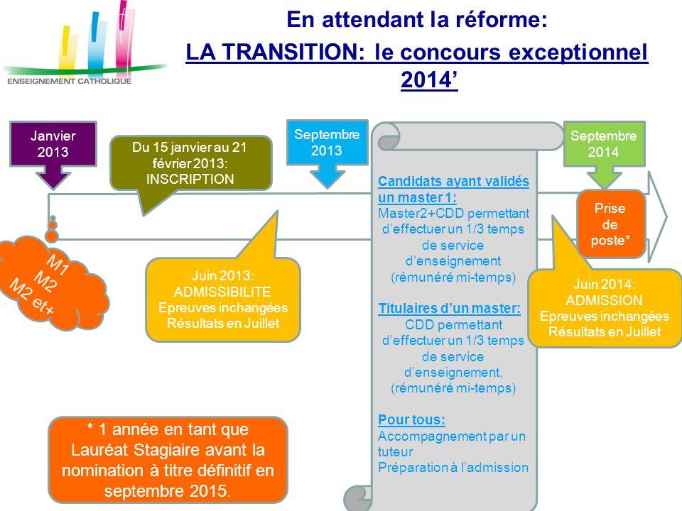 En attendant la réforme: LA TRANSITION: le concours exceptionnel 2014'