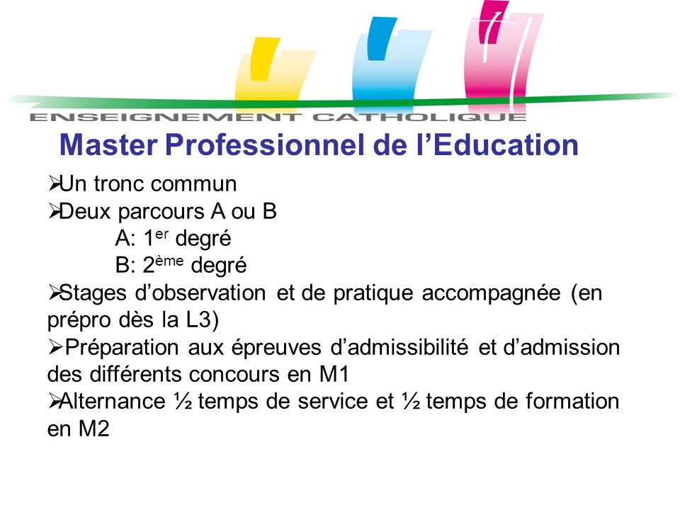 Master Professionnel de l'Education