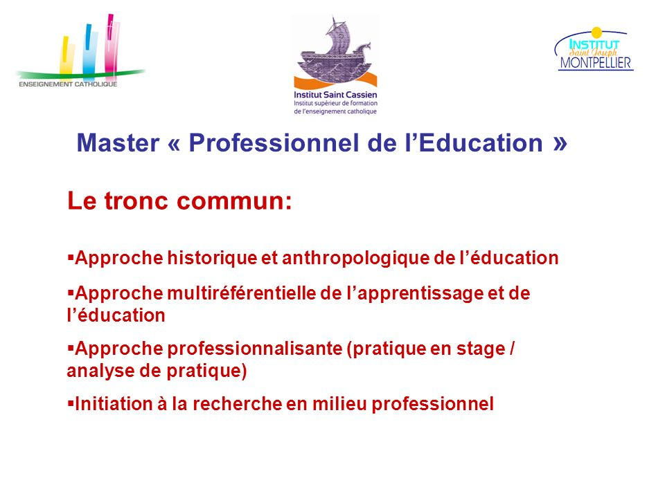 Master « Professionnel de l'Education »