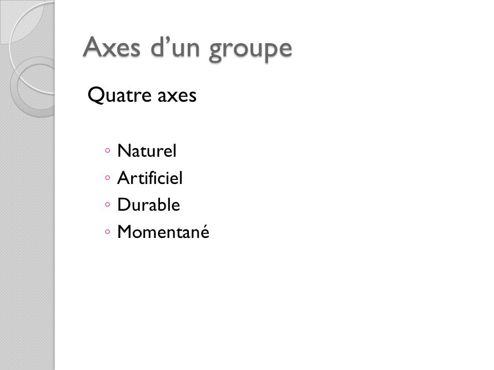 Axes d'un groupe Quatre axes Naturel Artificiel Durable Momentané