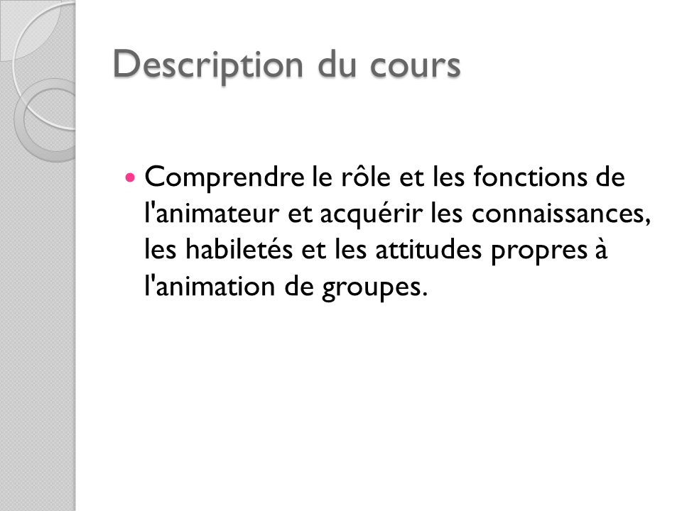 Description du cours