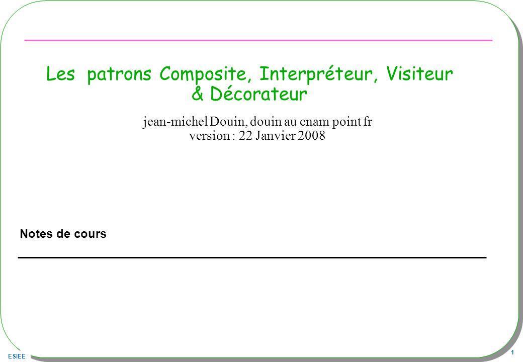 Les patrons Composite, Interpréteur, Visiteur & Décorateur