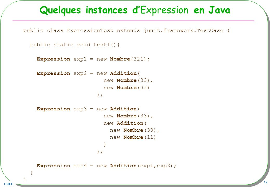 Quelques instances d'Expression en Java