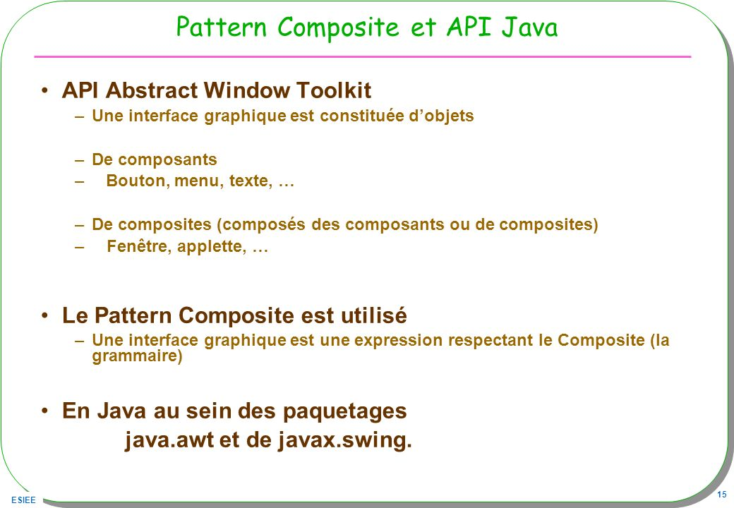 Pattern Composite et API Java